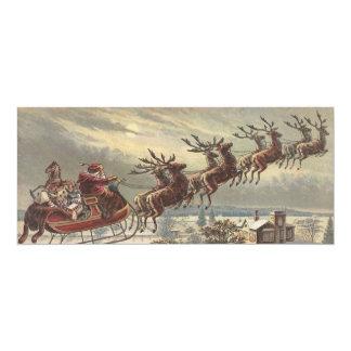 Noël vintage, le père noël victorien dans Sleigh Carton D'invitation 10,16 Cm X 23,49 Cm