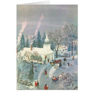 Noël vintage, les gens allant à l'église dans la carte de vœux