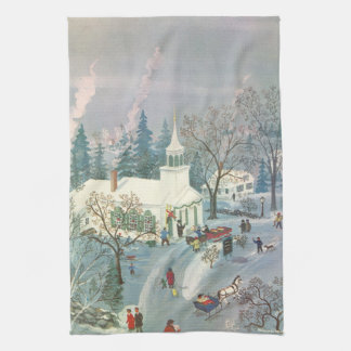 Noël vintage, les gens allant à l'église dans la serviette pour les mains