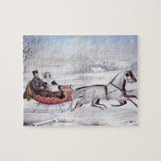 Noël vintage, l'hiver de route, cheval de Sleigh Puzzle