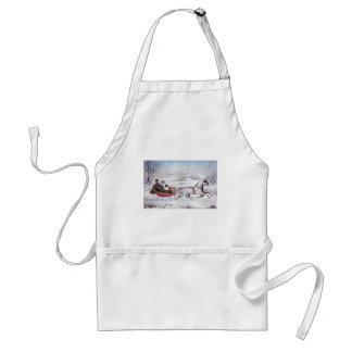 Noël vintage, l'hiver de route, cheval de Sleigh Tablier