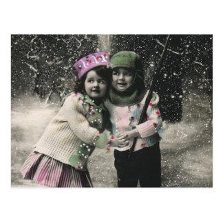Noël vintage, meilleurs amis sur des skis cartes postales