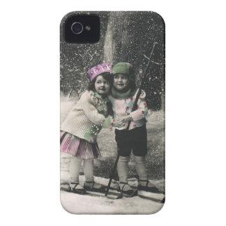 Noël vintage, meilleurs amis sur des skis coque iPhone 4 Case-Mate