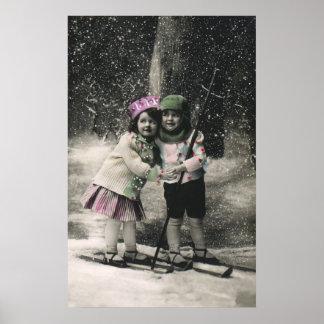 Noël vintage, meilleurs amis sur des skis poster