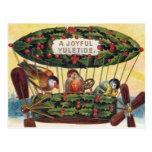 Noël vintage - oiseaux dans un dirigeable cartes postales