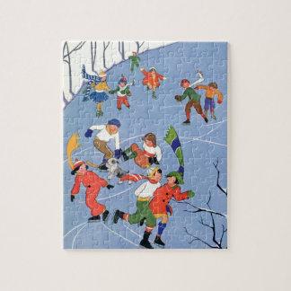 Noël vintage, patinage de glace d'enfants sur un puzzle