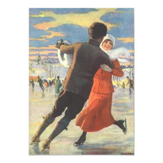 Noël vintage, patinage de glace romantique de carton d'invitation  12,7 cm x 17,78 cm