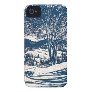 Noël vintage, paysage de montagne d'hiver coques iPhone 4 Case-Mate