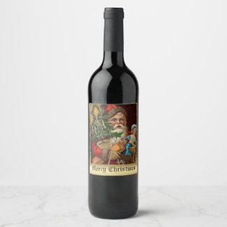 Noël vintage Père Noël avec l'étiquette de Étiquette Pour Bouteilles De Vin