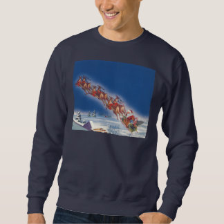 Noël vintage, Père Noël pilotant le renne de Sweatshirt