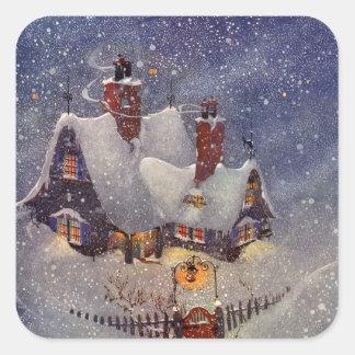 Noël vintage, Pôle Nord d'atelier du père noël Sticker Carré