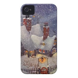 Noël vintage, Pôle Nord d'atelier du père noël Coque Case-Mate iPhone 4