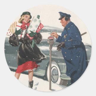 Noël vintage, policier de achat de présents sticker rond