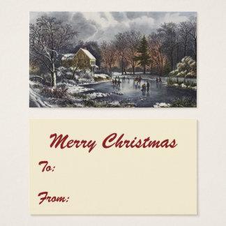 Noël vintage, premiers patineurs d'hiver sur cartes de visite