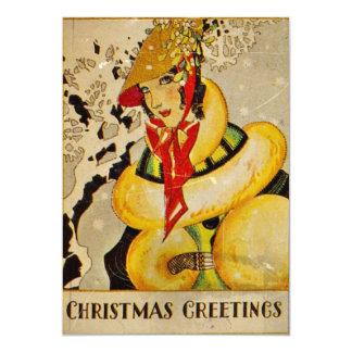 Noël vintage saluant 1928 carton d'invitation  12,7 cm x 17,78 cm