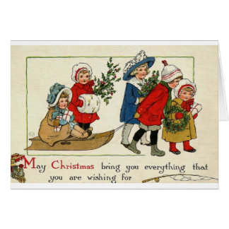 Noël vintage souhaite la carte de voeux
