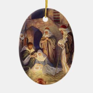 Noël vintage, trois bergers et bébé Jésus Ornement Ovale En Céramique