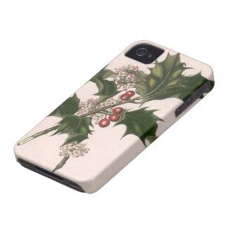Noël vintage, usine de houx avec les baies rouges coque iPhone 4