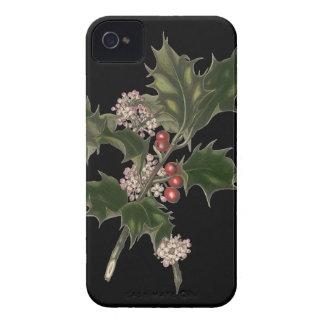 Noël vintage, usine verte de houx avec des baies coque iPhone 4 Case-Mate