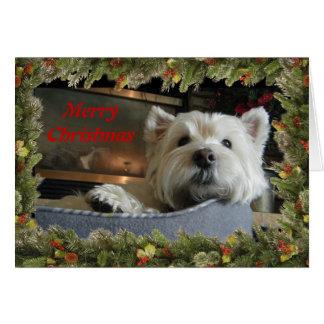 Noël Westie avec la carte de voeux de photo de