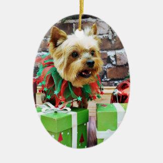 Noël - Yorkie - Willie Ornement Ovale En Céramique