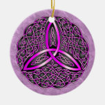 Noeud celtique de trinité d'art de rose et de noir ornement rond en céramique