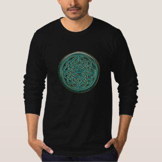 Noeud celtique métallique vert de jade et d'or t-shirt