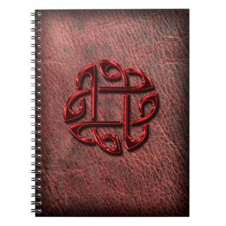 Noeud celtique sur le cuir véritable carnet à spirale