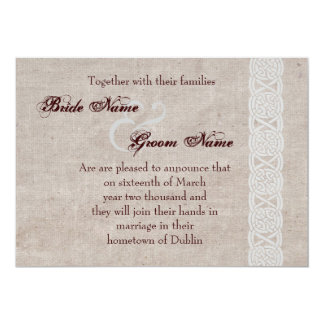Noeud celtique sur traditionnel irlandais de toile carton d'invitation  12,7 cm x 17,78 cm
