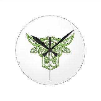 Noeud de Celtic de Taureau de Taureau Horloge Ronde
