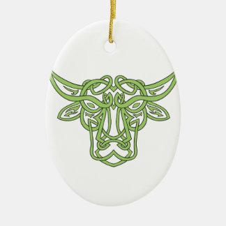 Noeud de Celtic de Taureau de Taureau Ornement Ovale En Céramique