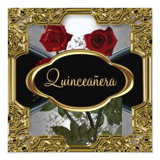 Noir 6 d'or de fête d'anniversaire de Quinceanera Carton D'invitation 13,33 Cm