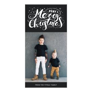 Noir amorti très joyeux de Photocard | de Noël Carte
