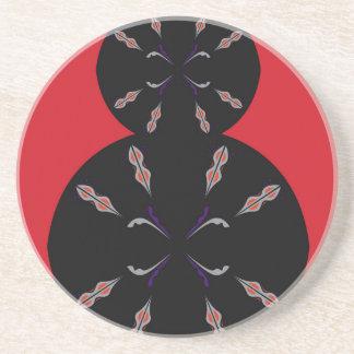 Noir arabe d'éléments sur le rouge dessous de verre en grès