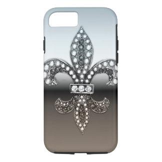 Noir argenté de Fleur De Lis Flor la Coque iPhone 8/7