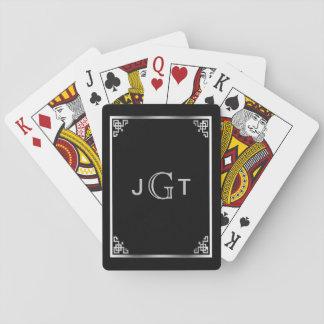 Noir argenté élégant fait sur commande des jeux de cartes