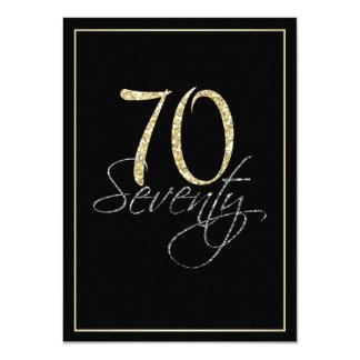 Noir argenté formel et soixante-dixième fête carton d'invitation  11,43 cm x 15,87 cm