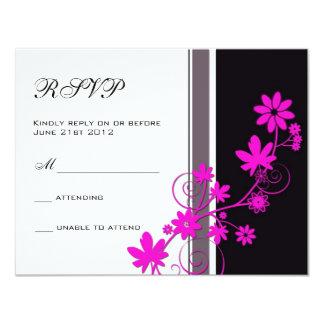 Noir avec la fleur de roses indien épousant RSVP Carton D'invitation 10,79 Cm X 13,97 Cm