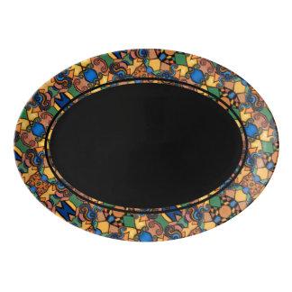 Noir avec la frontière abstraite moderne de motif plateau de service en porcelaine