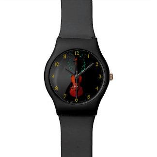 Noir avec la montre de musique de violon montres
