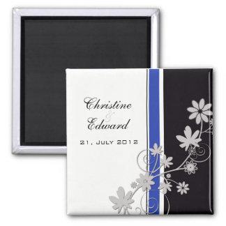 Noir avec l'aimant bleu de mariage de fleur magnet carré
