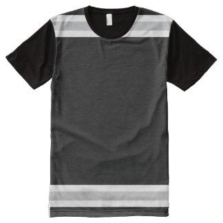 Noir avec le blanc et l'équilibre d'argent t-shirt tout imprimé