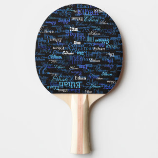 noir avec le motif du nom du joueur bleu raquette tennis de table