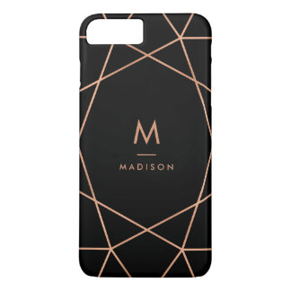 Noir avec le motif géométrique d'or rose moderne coque iPhone 7 plus