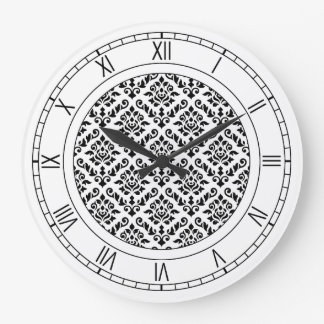 Noir baroque de motif de damassé sur le blanc grande horloge ronde