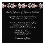 Noir/blanc/invitations florales mariage de Fushia