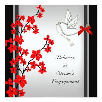 Noir blanc rouge de fleur de partie de fiançailles carton d'invitation  13,33 cm