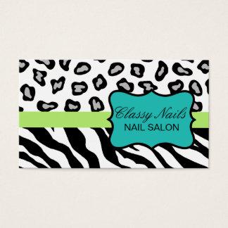 Noir, blanc, turquoise et zèbre et guépard verts cartes de visite