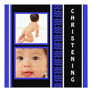 Noir bleu de bébé de baptême carton d'invitation  13,33 cm