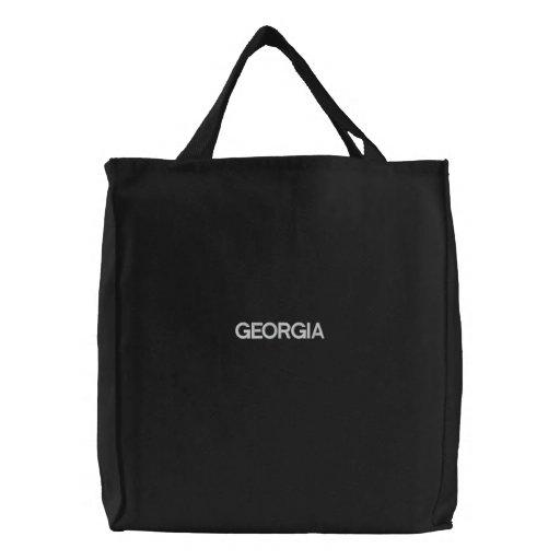 Noir brodé de sac fourre-tout à la Géorgie